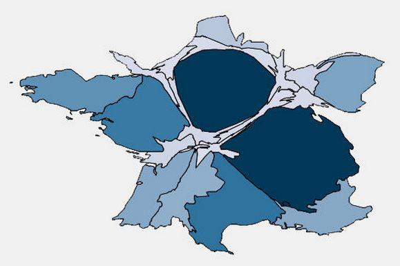 Cartogramme du nombre de mise en chantier de logements collectifs (Données publiques; 2008)