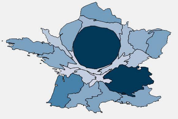 Cartogramme du nombre de stagiaires (Données publiques; 2008)
