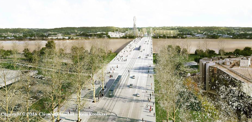 Pont Jean Jacques de Bosc, Bordeaux / Vue d'ensemble. Crédits photo : Clément Blanchet / Rem Koolhaas / OMA