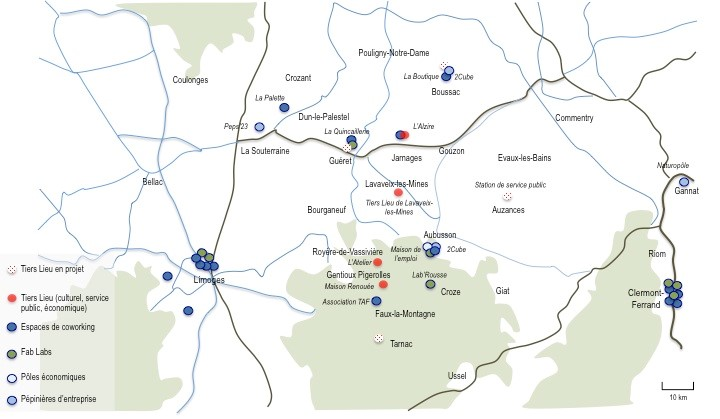 Tiers Lieux existants et en projet sur le département de la Creuse (source : Raphaël Besson)