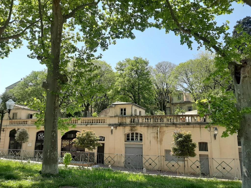 Les jardins en terrasse le long du parc de la Comédie. A droite, l'architecture à taille humaine du quartier des Beaux-Arts (photos : E. Gabet)