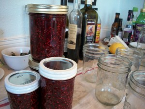making raspberry jam