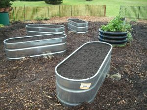 Horse troughs are heavy and can be a bit pricey but they provide a lot of space.  Drill holes and put in a layer of gravel for drainage.