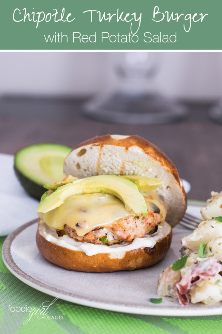 Grilled Chipotle Turkey Burger topped with swiss cheese & avocado with a side of red-skinned potato salad