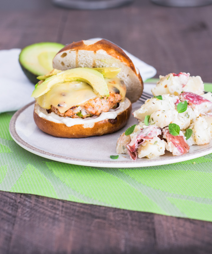 Grilled Chipotle Turkey Burger with Potato Salad