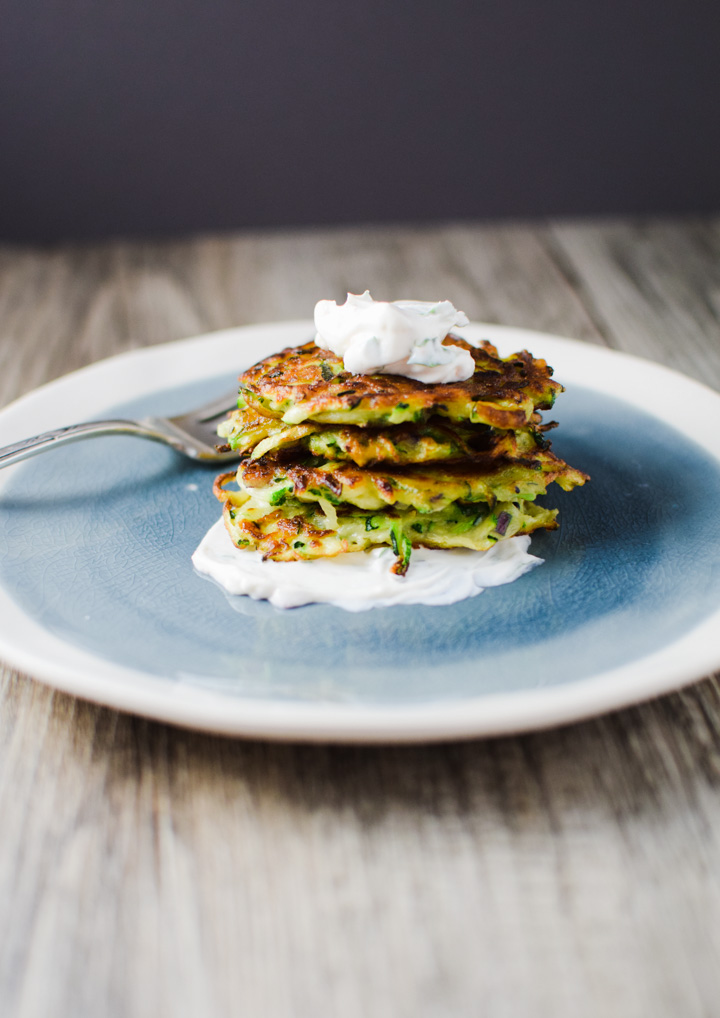 Zucchini Cakes with Goat Cheese Mousse