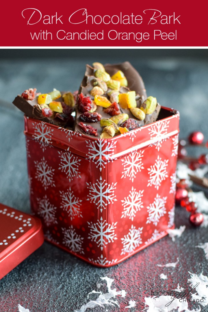This Dark Chocolate Bark with Pistachios and Candied Orange Peels makes an excellent edible gift or a great tasting dessert!