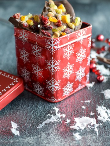 Dark Chocolate Bark in red holiday gift tin