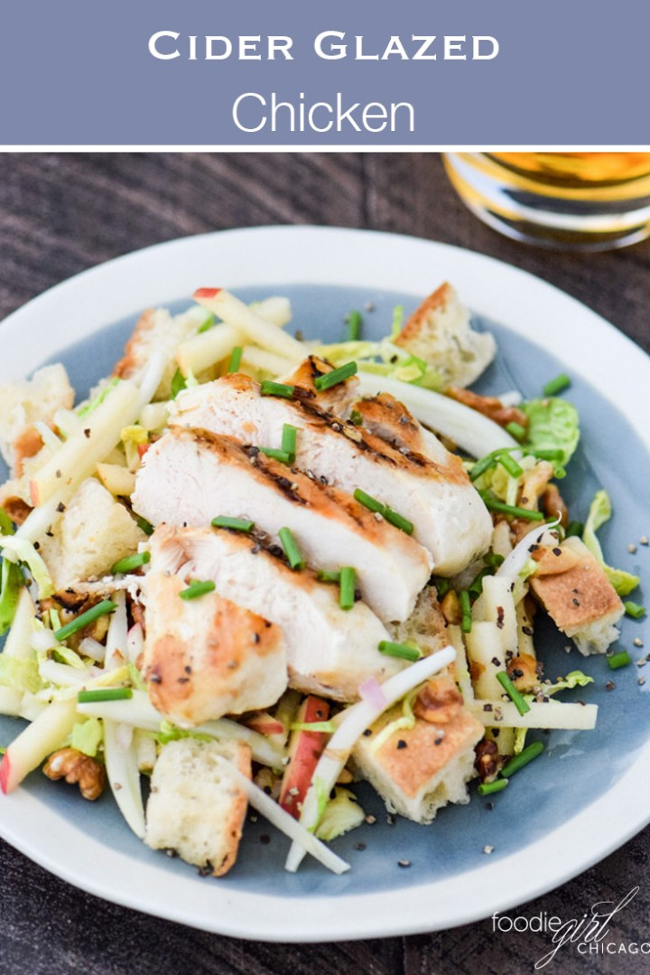 This cider glazed chicken tops a crisp Panzanellasalad with apples and fennel for a quick weeknight dinner!