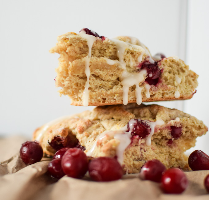 I love the delicious combination of tart cranberries and bright fresh oranges in this Cranberry Orange Scone recipe.  They are the perfect addition to a fall Sunday brunch party!