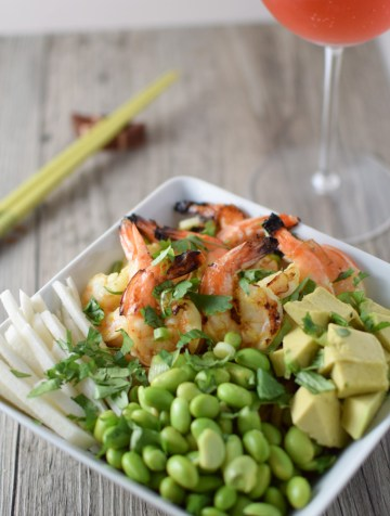 This Udon Noodle Bowl is topped with grilled shrimp and a tasty miso sauce for a great weeknight dinner.