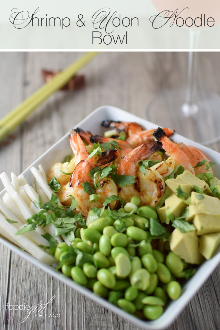 This Udon Noodle Bowl is topped with grilled shrimp and a tasty miso sauce for a great weeknight dinner!