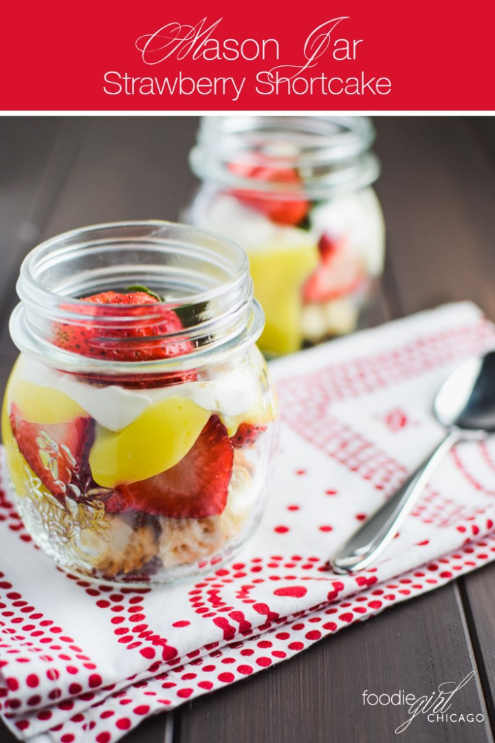 This strawberry shortcake in a mason jar is topped with lemon curd making it the perfect dessert for a summer picnic!