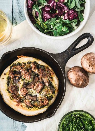 Mini Skillet Pizzas with Kale Pesto & Italian Sausage