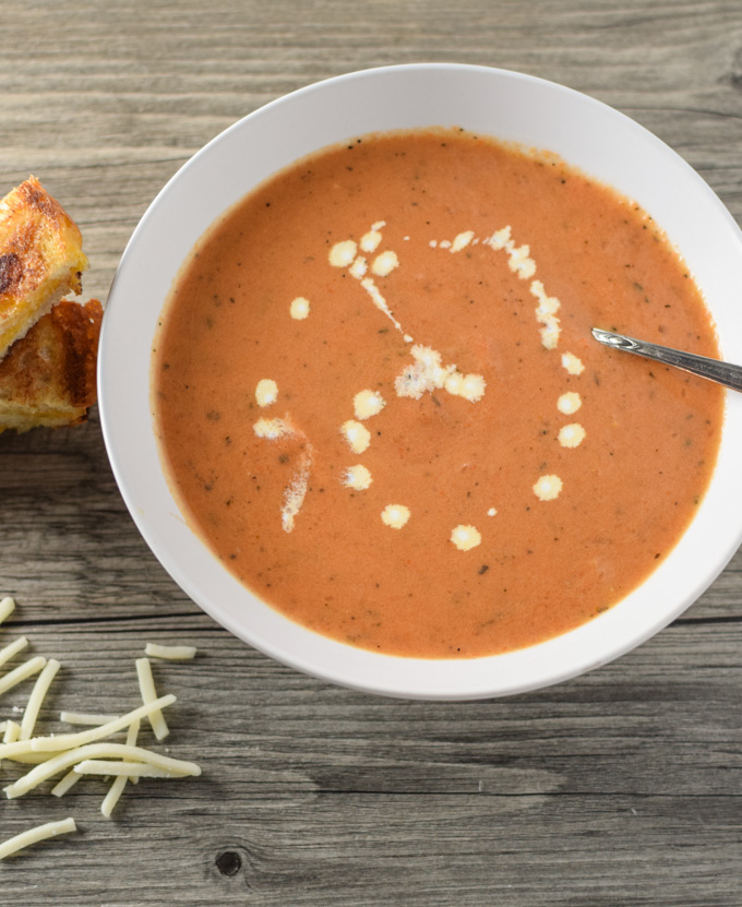 Tomato Bisque & Grilled Cheese Sticks