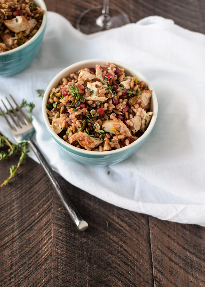 Farro, chicken + pistachios