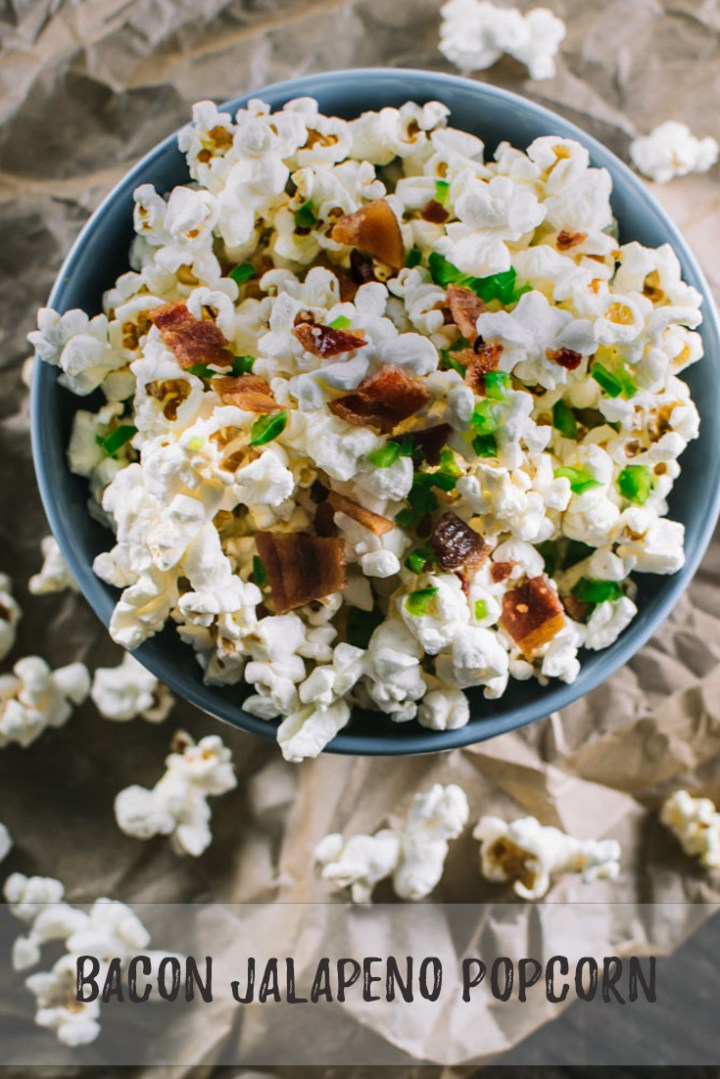 This popcorn gets a little extra kick from the addition of jalapeño and bacon!