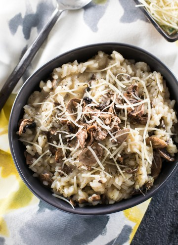 Mushroom Risotto Drizzled with Truffle Oil