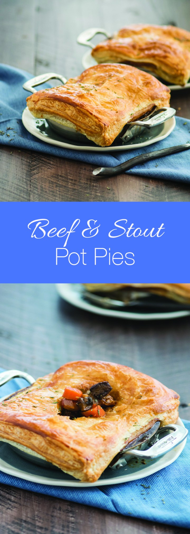 These Mini Beef &Stout Pot Pies with a flaky blue cheesecrust are delicious comfort food for the late winter season!