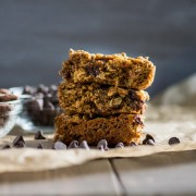 Three stacked chocolate chip oatmeal bars
