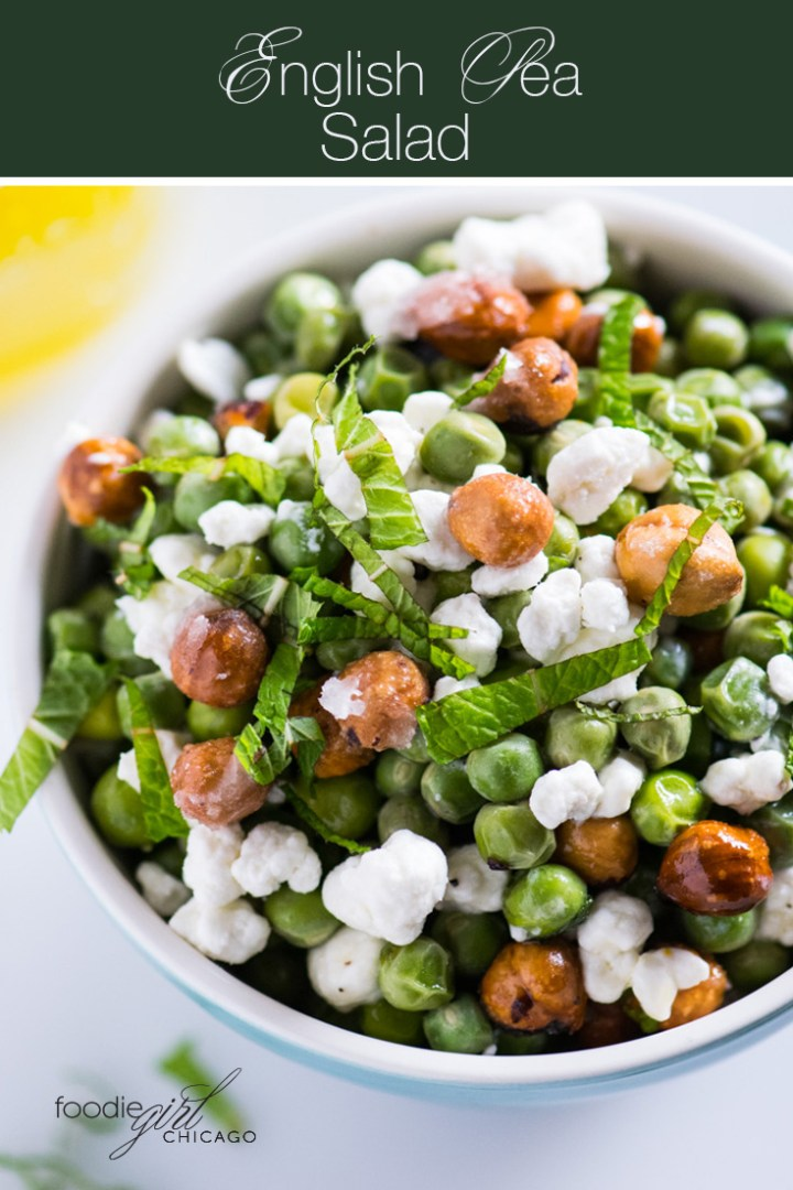 This bright, fresh salad combines sweet peas with goat cheese and candied hazelnuts for the ultimate springtime dish or light weeknight dinner!