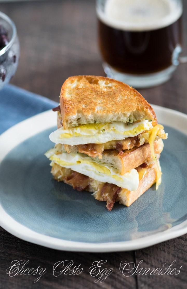 Toasted Pesto Egg Sandwiches