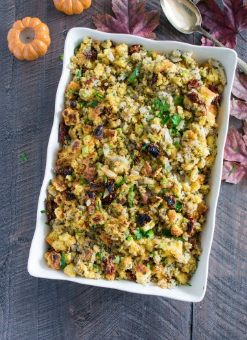 Thanksgiving cornbread stuffing in a large white serving dish