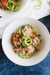 Quinoa Ricotta Meatballs on a bed of zucchini noodles
