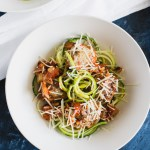 Quinoa Ricotta Meatballs on a bed of zucchini noodles