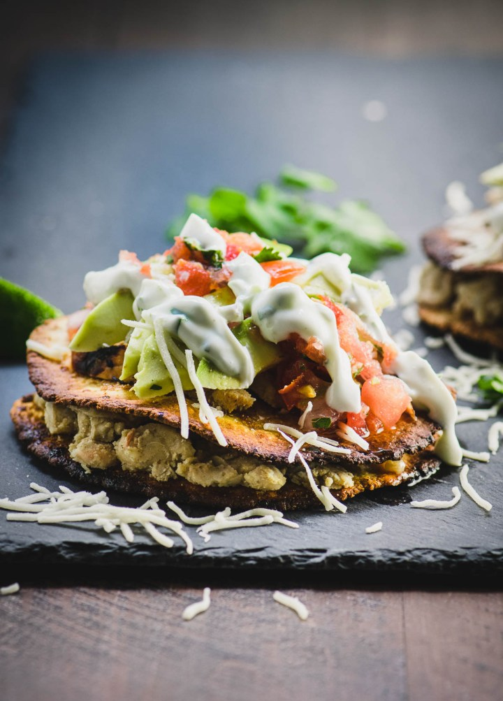 Close up of two crisp corn tortillas topped with grilled chicken, avocado and cilantro lime sauce