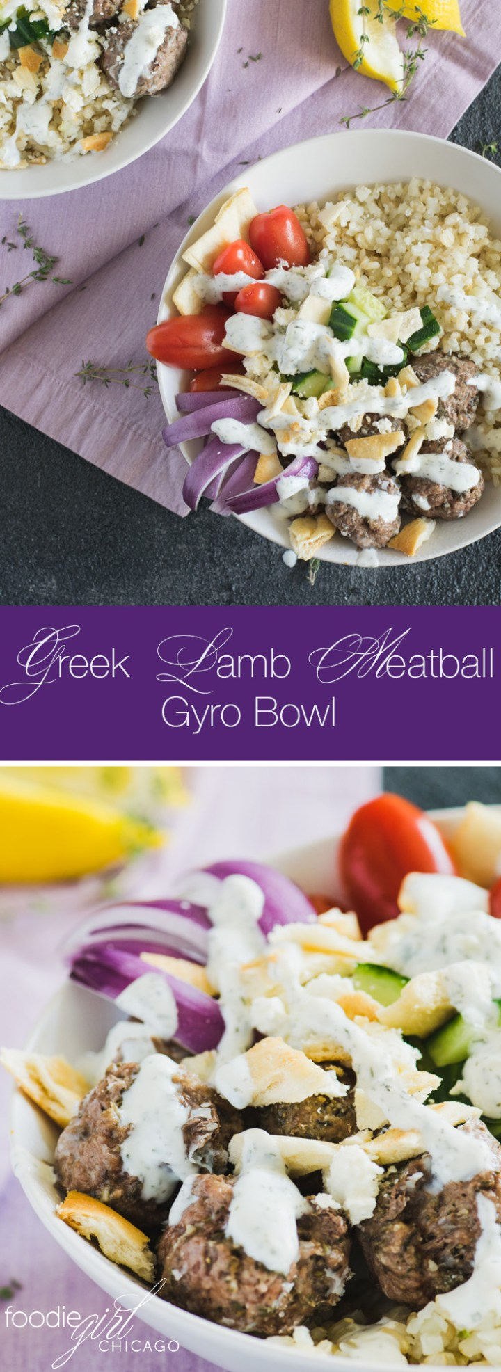 Greek Lamb Meatball Gyro Bowl