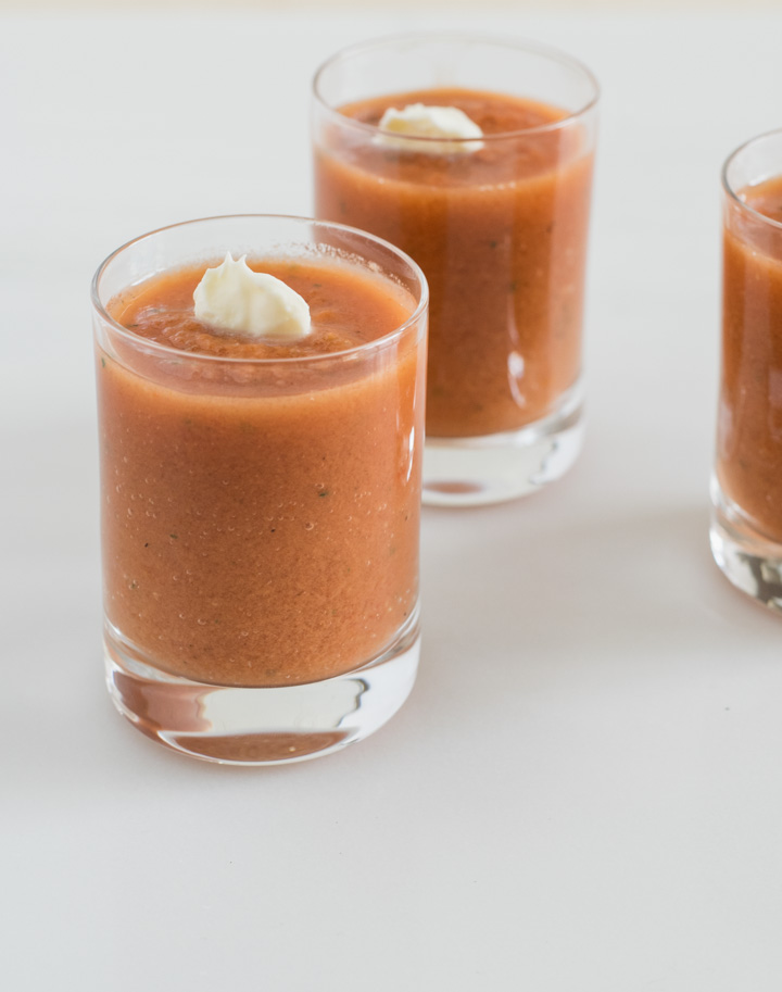 This Traditional tomato gazpacho can be served as individual shots