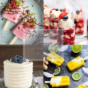 Tiled photo with four desserts - two different types of popsicles, eaton mess in mason jars and a lovely vanilla cake topped with blueberries