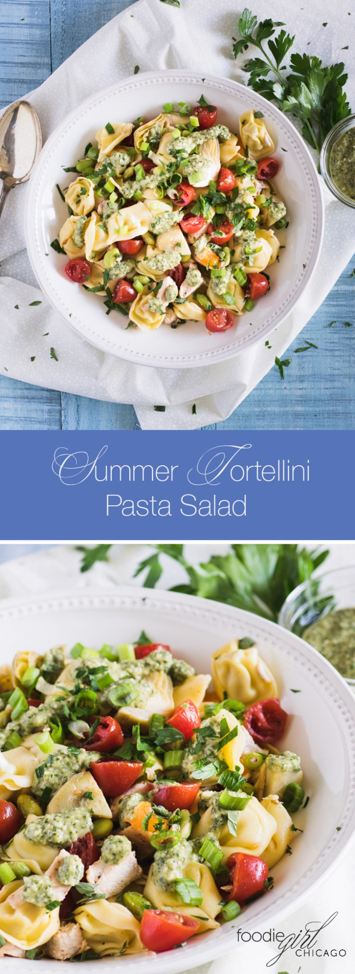 This lovely summer pasta salad is loaded with fresh veggies and topped with a tangy pesto dressing to give it an extra pop of flavor!