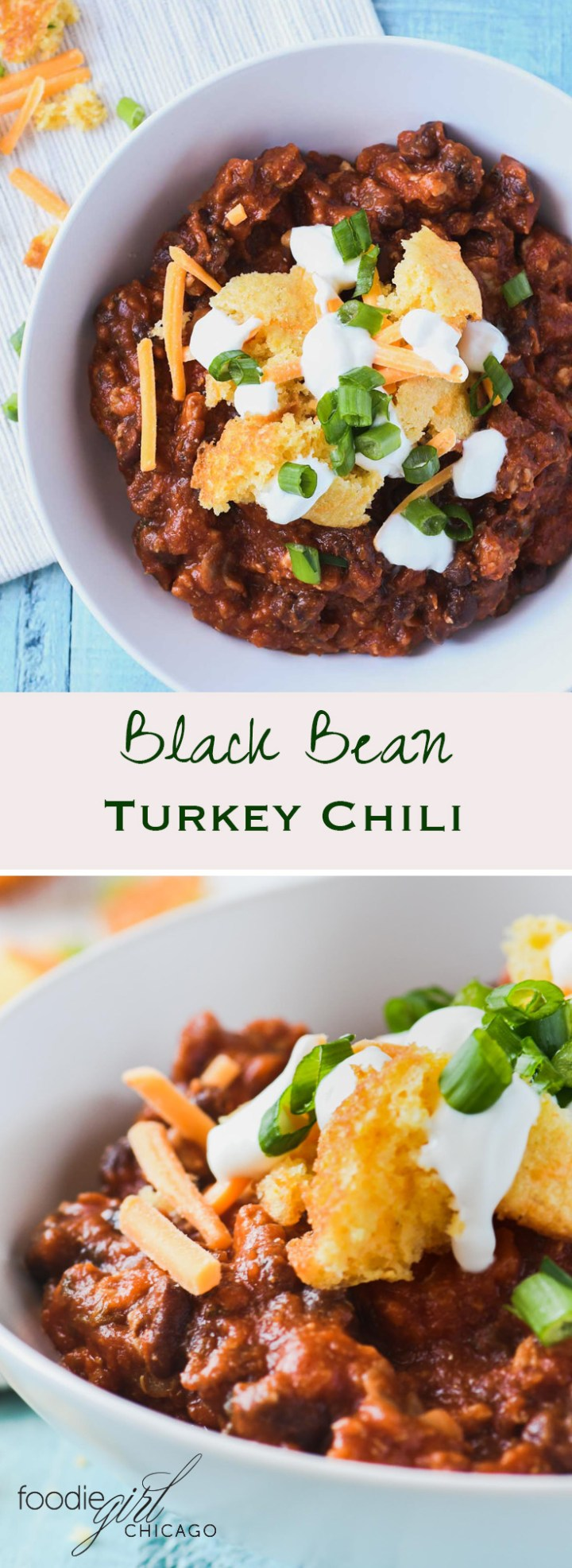 This healthy turkey chili recipe is made with black beans and Amber Ale then topped with jalapeño cheddar cornbread bites for a tasty weeknight meal on a cold winter evening!