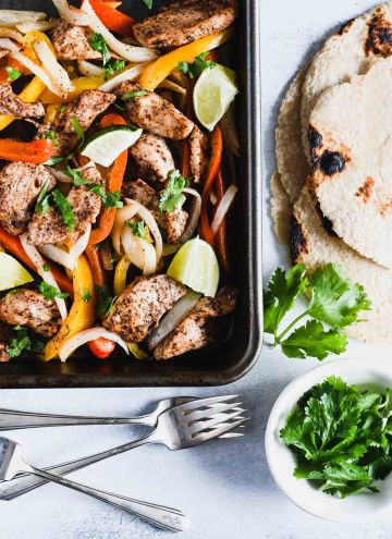 Sheet Pan Chicken Fajitas with corn tortillas