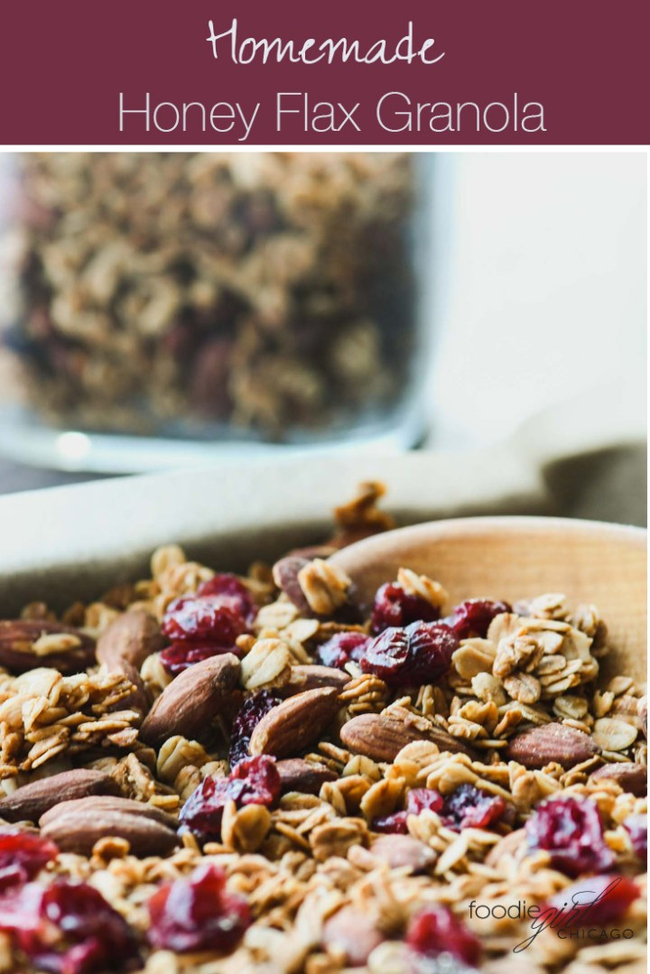Close up of granola with a wooden spoon