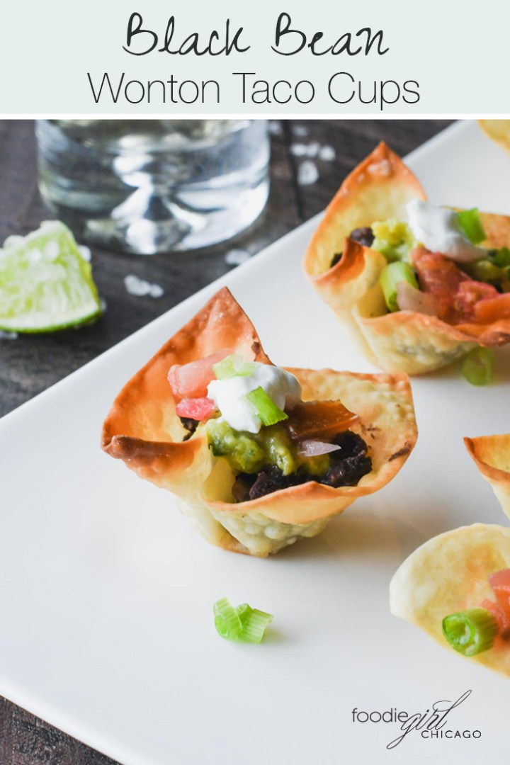 Wonton Taco Cup filled with seasoned black beans