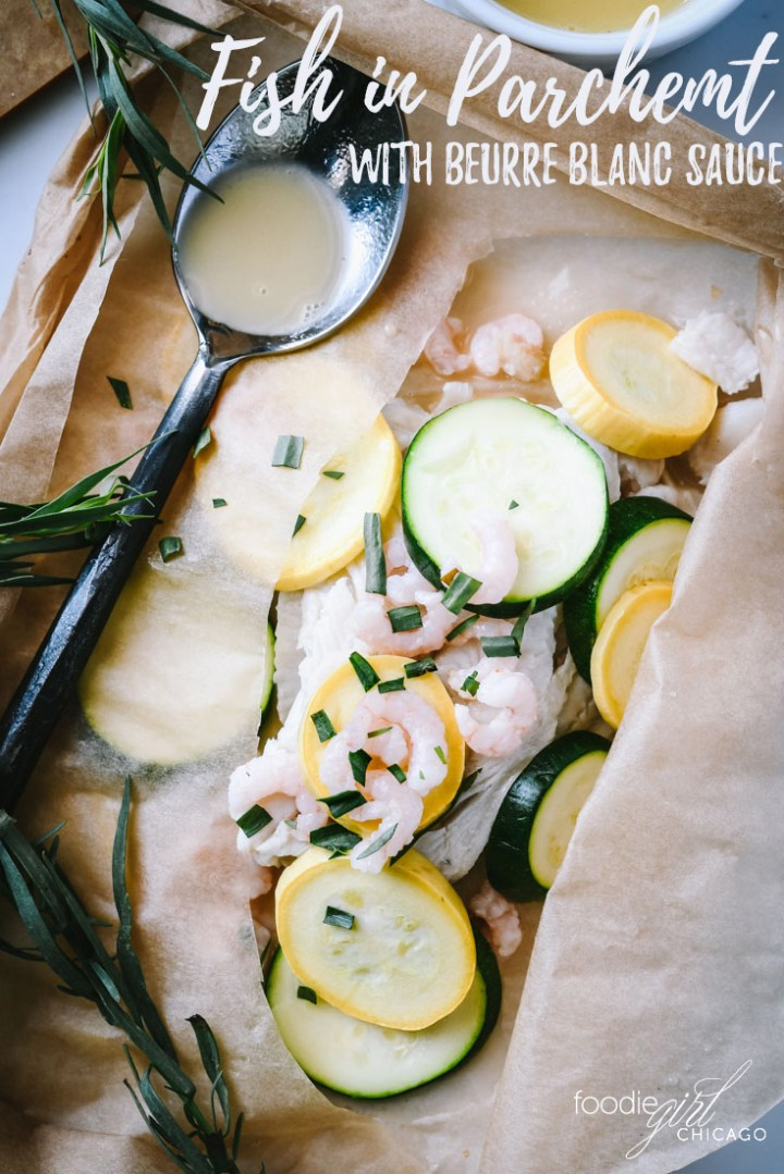 This mild white fish is poached and then roasted in parchment with spring veggies and topped with a light, creamy beurre blanc sauce.