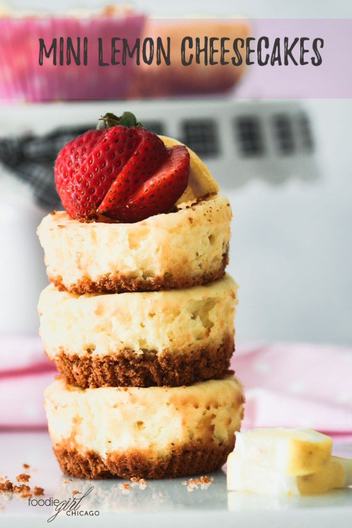 Three mini lemon cheesecakes staked on top of each other