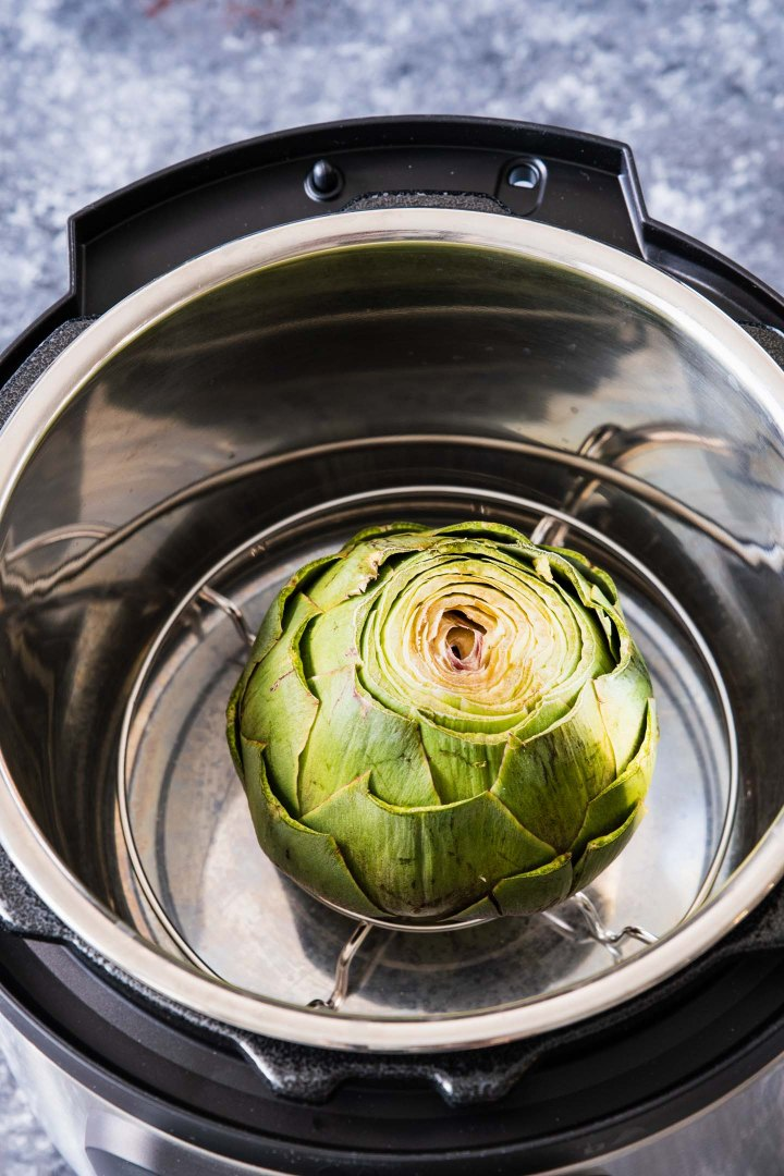 Artichoke in an instant pot before steaming