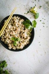 Cilantro Lime Rice in a black bowl