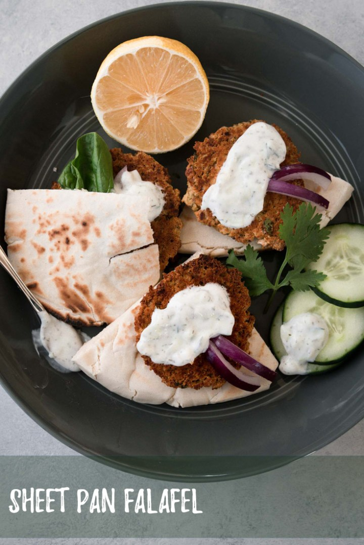 Falafel is a great way to way to give veggies the chance to be the star at mealtime!  These falafel are baked to give you a nice crunch without the hassle and extra calories you get from frying.