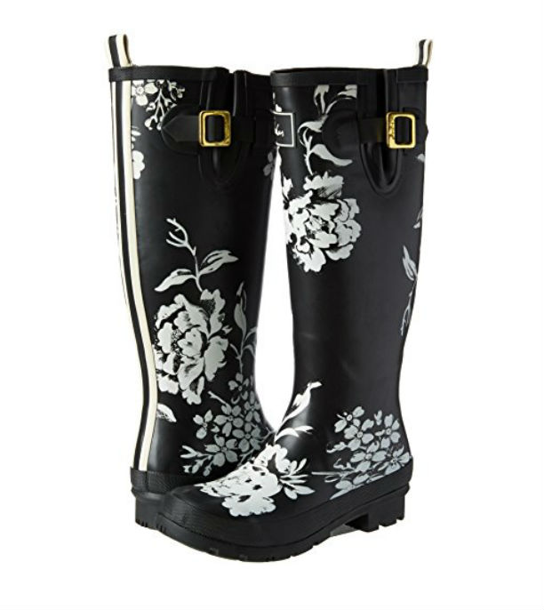 Black Floral Wellyprint Printed Rain Boots