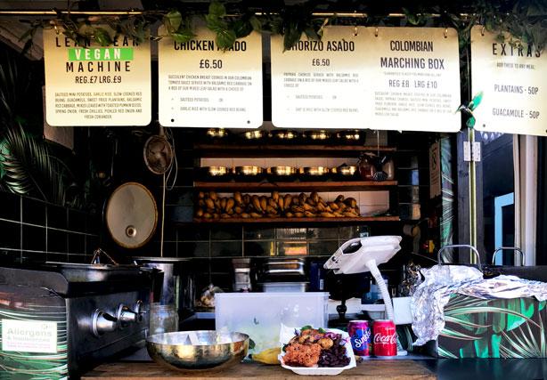 Vegan food stall at London's Camden Market.