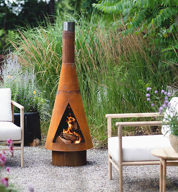 modern chiminea corten steel fire pit for patio
