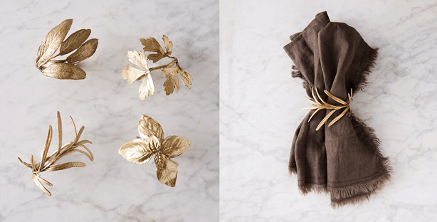 pewter antique bronze botanical napkin rings