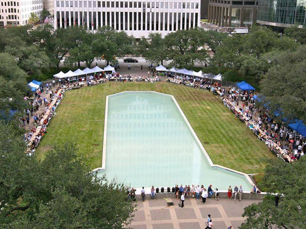 Wednesday City Hall Farmers Market in Houston, TX Aerial View