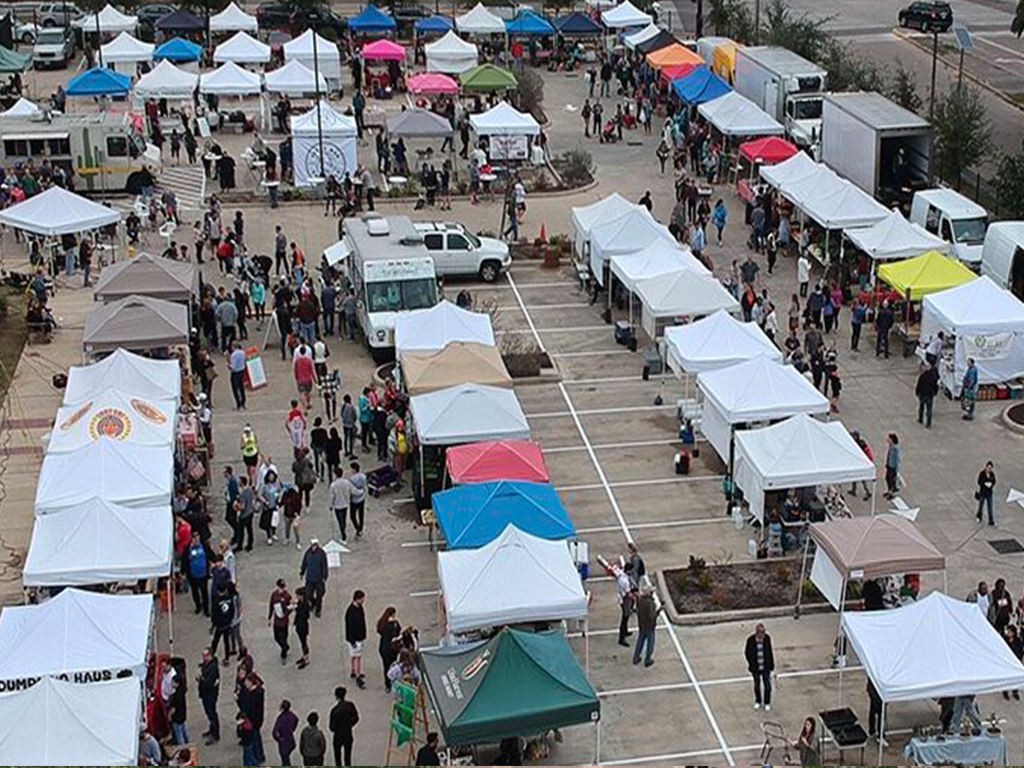Saturday Farmers Market in Houston aerial view