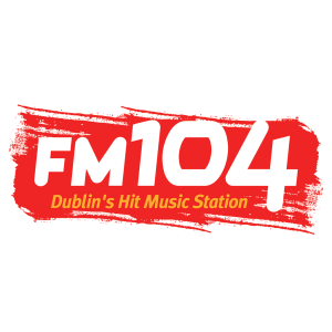 FM104 logo on red background
